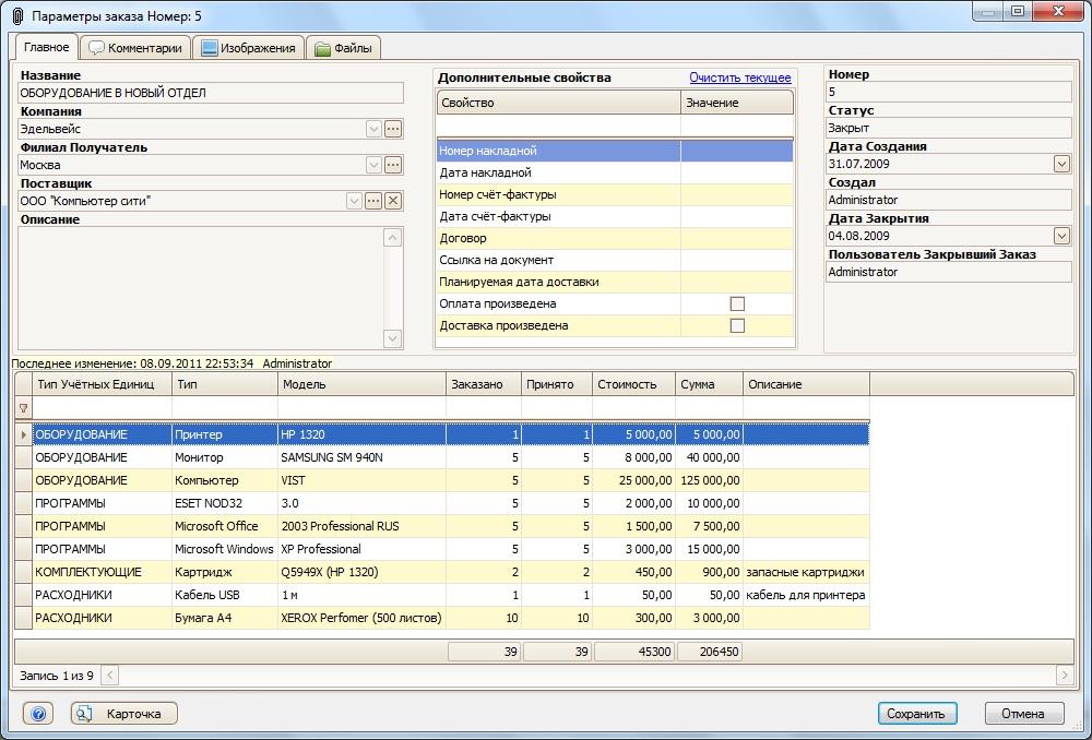 Учет заказов и поступлений оборудования с программой IT Invent